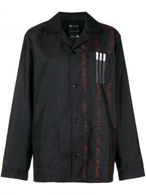 Парусиновая куртка с рисунком из надписей Adidas Originals By Alexander Wang. Цвет: черный