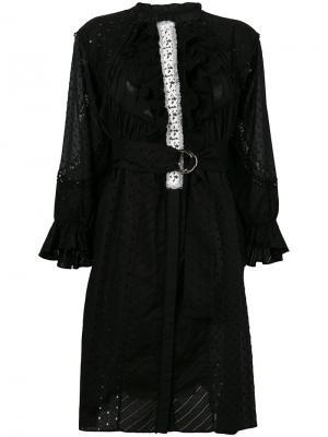 Платье с простроченной отделкой и рюшами Tsumori Chisato. Цвет: черный