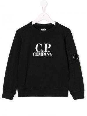 Толстовка с принтом логотипа Cp Company Kids. Цвет: черный
