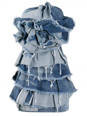 Джинсовое платье с оборками Redemption. Цвет: синий