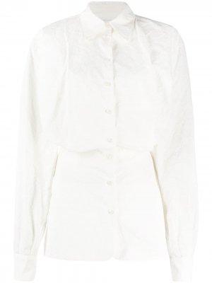 Платье-рубашка мини с длинными рукавами The Attico. Цвет: белый