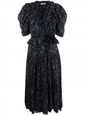 Платье миди с оборками и цветочным принтом Ulla Johnson. Цвет: синий