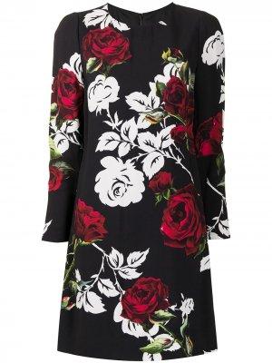 Платье с принтом и длинными рукавами Dolce & Gabbana Pre-Owned. Цвет: черный