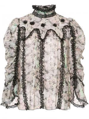 Топ с принтом Anna Sui. Цвет: черный