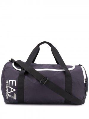 Дорожная сумка с логотипом Ea7 Emporio Armani. Цвет: синий