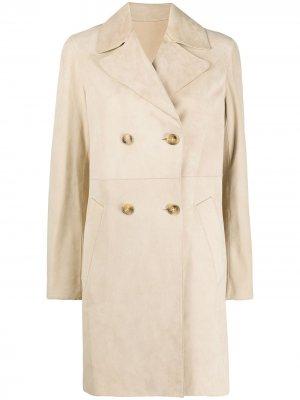 Двубортное пальто миди Yves Salomon. Цвет: нейтральные цвета