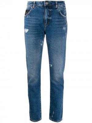 Прямые джинсы с эффектом потертости John Richmond. Цвет: синий
