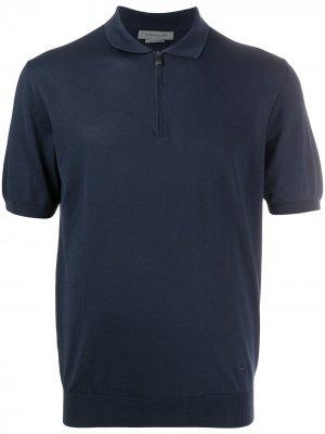 Рубашка поло на молнии Corneliani. Цвет: синий