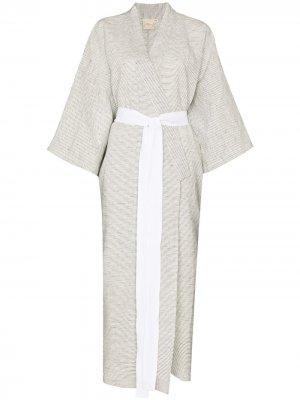 Халат-кимоно в тонкую полоску Deiji Studios. Цвет: серый