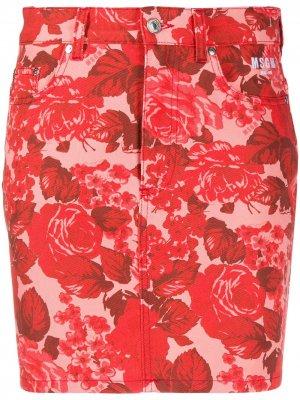 Джинсовая юбка с цветочным принтом MSGM. Цвет: розовый