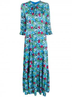 Платье с цветочным принтом Mary Katrantzou. Цвет: синий
