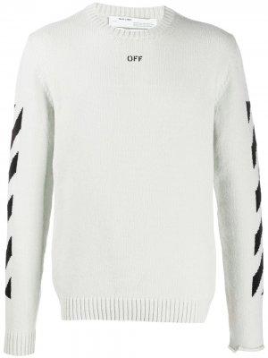 Джемпер вязки интарсия Off-White. Цвет: серый