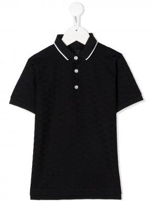 Рубашка поло с узором Emporio Armani Kids. Цвет: синий