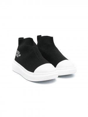 Кеды-слипоны с контрастным носком Douuod Kids. Цвет: черный