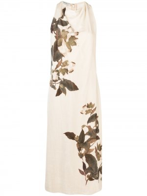 Платье с цветочным принтом и сборками Vince. Цвет: нейтральные цвета
