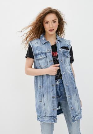 Жилет джинсовый Miss Bon. Цвет: синий