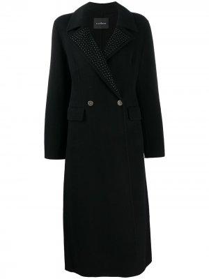 Двубортное пальто John Richmond. Цвет: черный