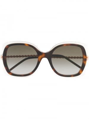 Солнцезащитные очки в массивной оправе Elie Saab. Цвет: коричневый
