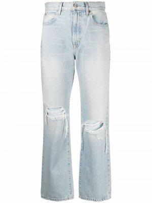Укороченные джинсы прямого кроя с прорезями Slvrlake. Цвет: синий