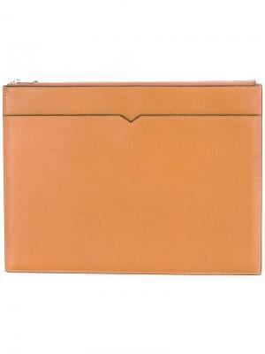 Папка для документов на молнии Valextra. Цвет: коричневый
