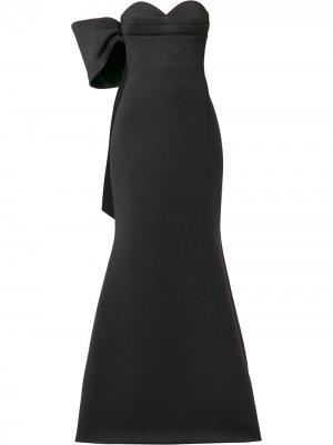 Платье асимметричного кроя с бантом Badgley Mischka. Цвет: черный