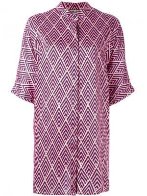 Пижамная рубашка с узором Otis Batterbee. Цвет: розовый и фиолетовый