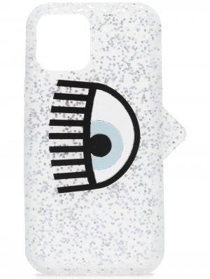 Чехол для iPhone 12 Pro с блестками Chiara Ferragni. Цвет: серебристый