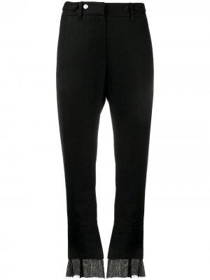 Укороченные брюки с многослойными манжетами Ann Demeulemeester. Цвет: черный