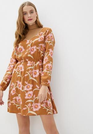 Платье Roxy. Цвет: бежевый