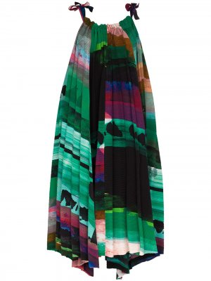 Платье миди Ahlder А-силуэта Issey Miyake. Цвет: зеленый