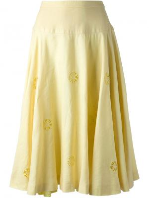 Юбка 80-х Céline Vintage. Цвет: желтый