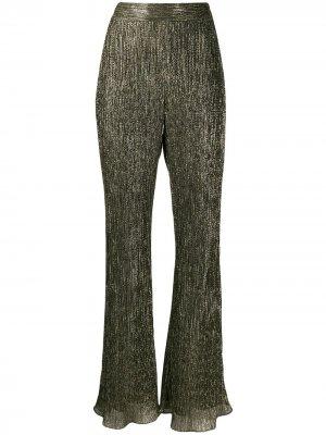 Расклешенные брюки с эффектом металлик Peter Pilotto. Цвет: золотистый