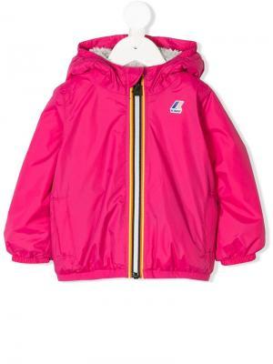 Плащ с капюшоном и логотипом K Way Kids. Цвет: розовый