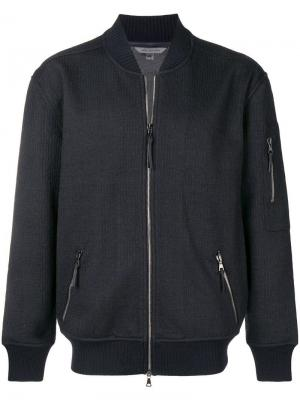 Фактурная куртка-бомбер John Varvatos. Цвет: синий
