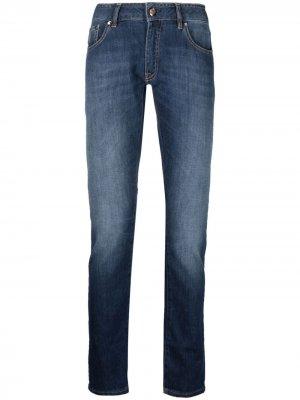Прямые джинсы средней посадки Moorer. Цвет: синий