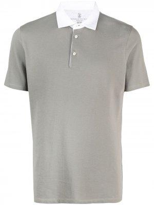 Рубашка поло с короткими рукавами Brunello Cucinelli. Цвет: зеленый