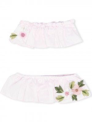 Бикини с цветочной вышивкой Piccola Ludo. Цвет: розовый