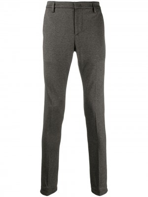 Узкие брюки средней посадки Dondup. Цвет: серый