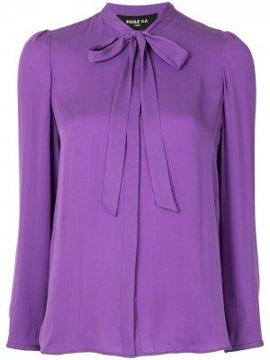 Блузка с бантом и длинными рукавами Paule Ka. Цвет: фиолетовый