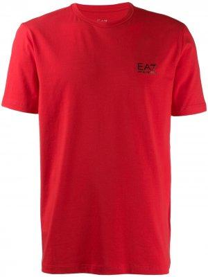 Футболка с логотипом Ea7 Emporio Armani. Цвет: красный