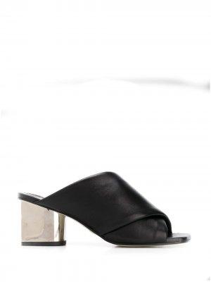Босоножки на каблуке с эффектом металлик Proenza Schouler. Цвет: черный