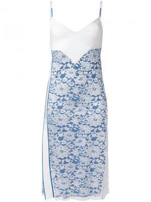 Платье с кружевной вставкой Paco Rabanne. Цвет: синий