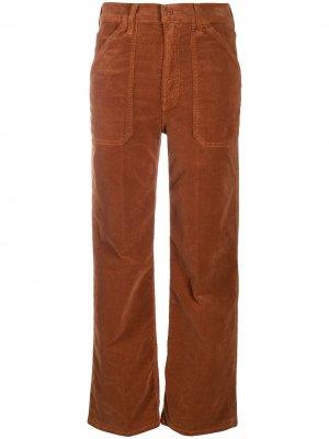 Укороченные вельветовые брюки MOTHER. Цвет: оранжевый