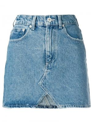 Джинсовая юбка с декором в виде подмигивающих глаз Chiara Ferragni. Цвет: синий