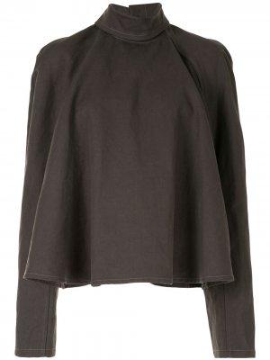 Блузка с высоким воротником застежкой на спине Lemaire. Цвет: серый