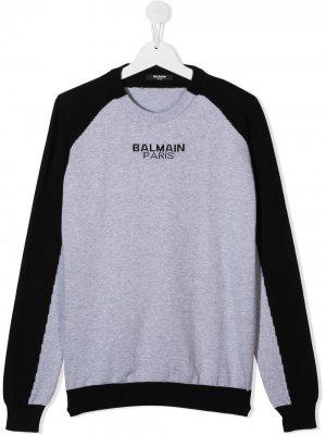 Двухцветный свитер Balmain Kids. Цвет: черный