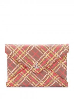 Клатч-конверт в клетку Vivienne Westwood. Цвет: коричневый