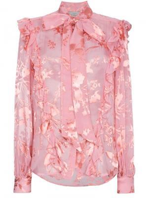 Блузка с цветочным принтом и бантом Preen By Thornton Bregazzi. Цвет: розовый