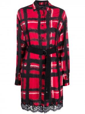Платье-рубашка в клетку Ermanno. Цвет: красный