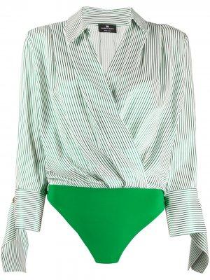 Рубашка-боди в полоску с запахом Elisabetta Franchi. Цвет: белый